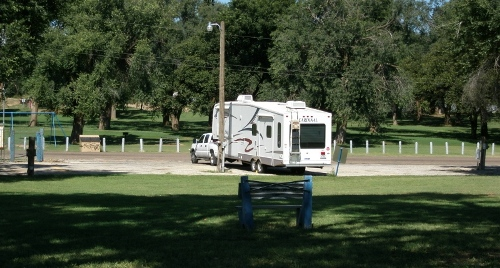 RV parked on camping grounds